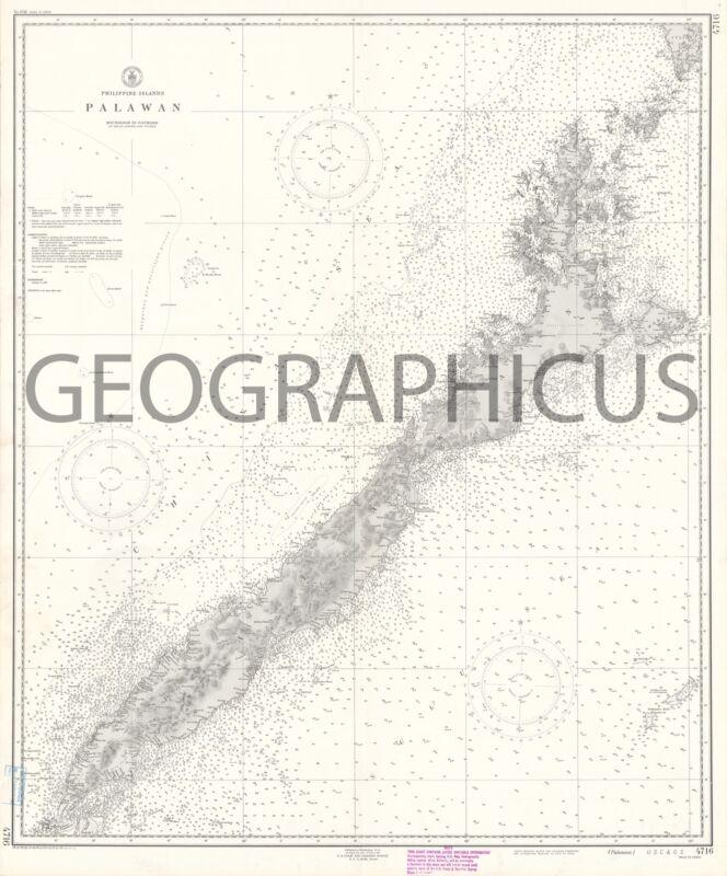 1950 U.S. COAST AND GEODETIC SURVEY NAUTICAL CHART OF PALAWAN, PHILIPPINES