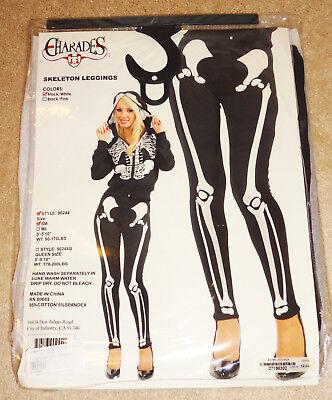 NEW Charades Halloween Costume Adult Women's Skeleton Leggings S/M