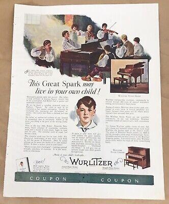 Wurlitzer ad 1927 vintage print 20s art illustration Cleveland Landon Woodward