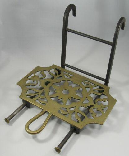 c.1800 Sliding Brass Hearth Trivet, Wrought Iron Base, Hanging Hooks, Signed