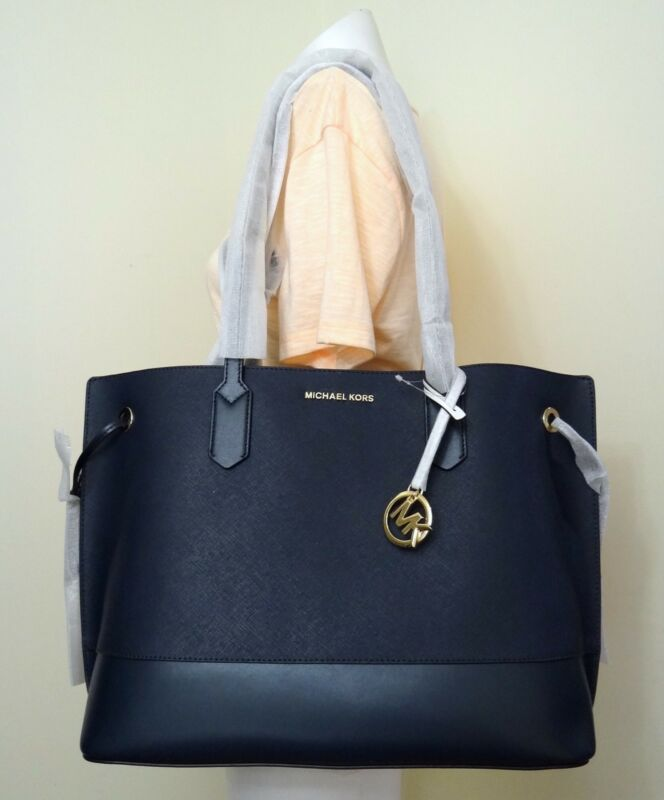 3ed65345aafdcc Michael Kors Trista Large Drawstring Leather Tote Bag in Navy ...