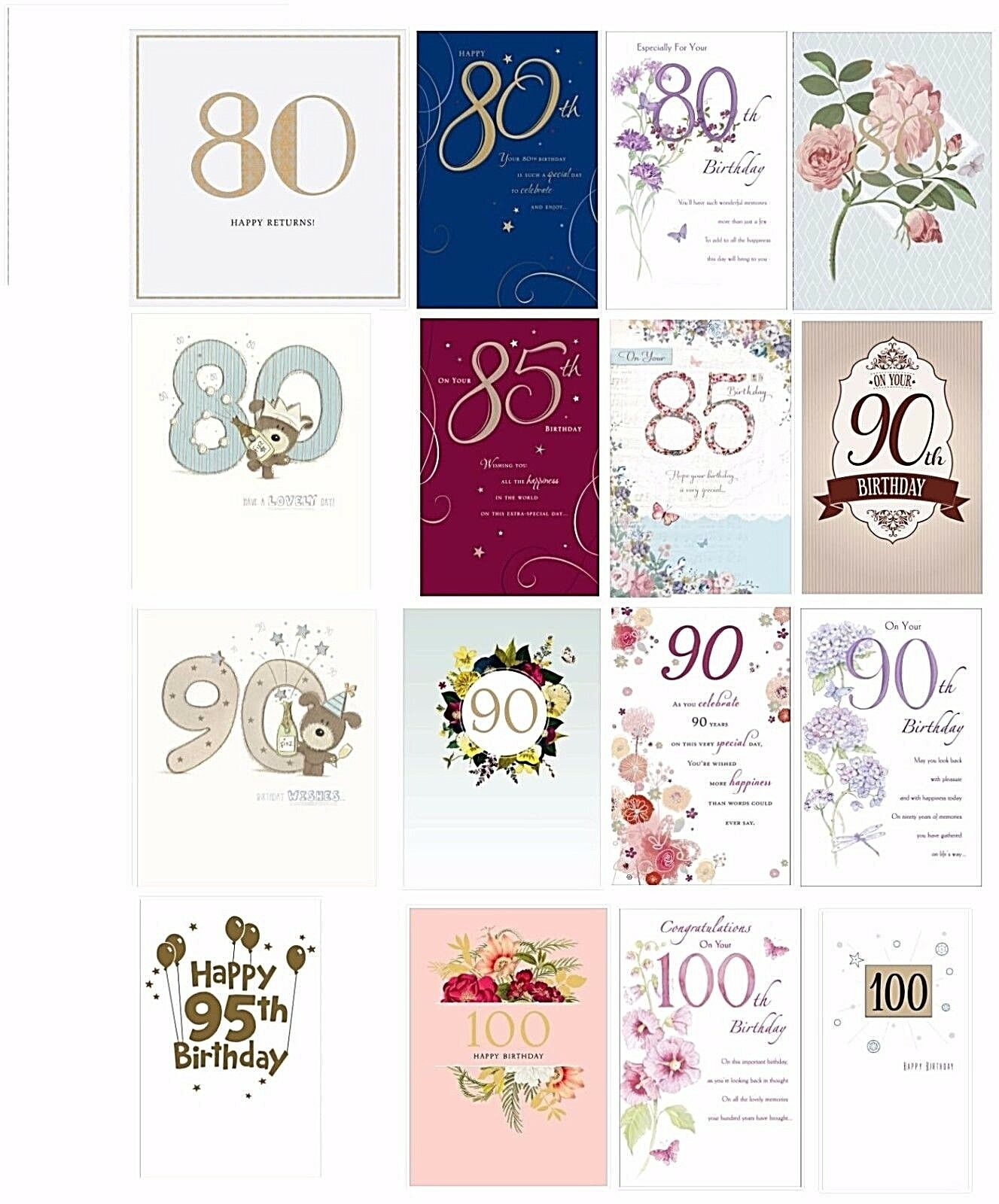 Adult Birthday Greetings Cards 80th 85th 90th 95th 100th