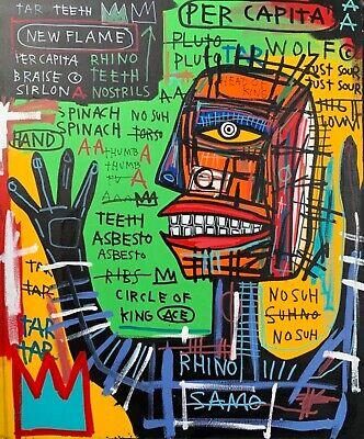 "Rare Jean Michel Basquiat Original Vintage Painting ""King Rhino"""