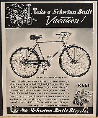 1940 Schwinn Built European Touring Model Print Ad