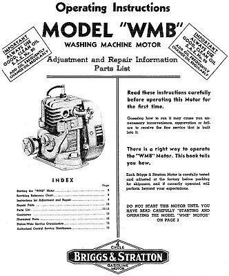 Briggs Stratton Model Wmb Engine Operator Maintenance Manual Parts - 17