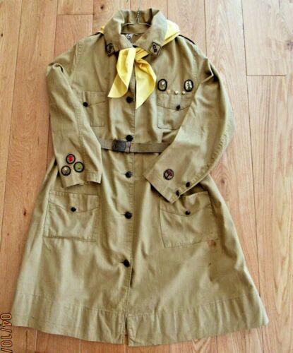 1919 KHAKI COAT Girl Scout Uniform, BADGES SCARF BELT w/STRETCH TREFOIL BUCKLE