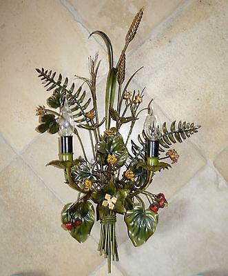 Florentiner Wandlampe Wandleuchte - Ähren, Gräser, Blumen - 2 flammig