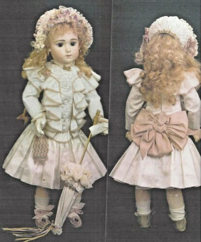 "22-24""ANTIQUE FRENCH JUMEAU DOLL@1880 DRESS UNDIES HAT SHOES GLOVES PATTERN BOOK"