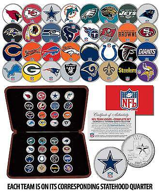 NFL TEAM LOGOS COMPLETE SET Colorized State Quarters 32-Coin Set w/Display Box ()