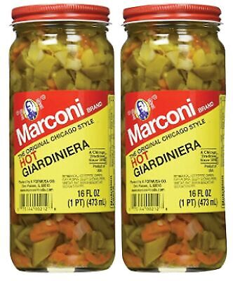 Marconi - The Original Chicago Style Hot Giardiniera - 16 oz (2 Pack) 2 Pack