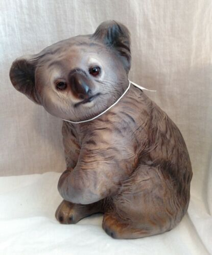 TANNEREYE Leather Covered Australian Koala Bear Handmade Artist Signed Animal