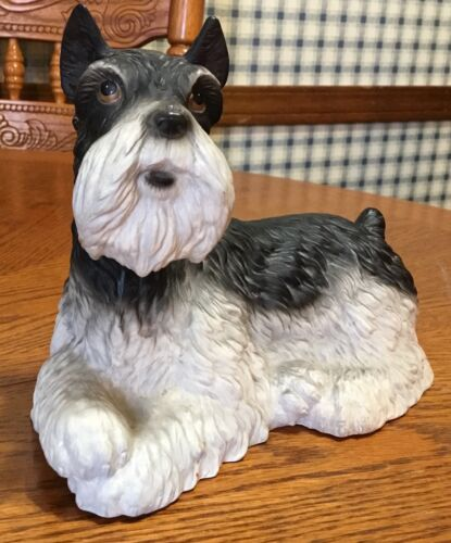 VINTAGE LEFTON 1990 FIGURAL  SNAUZER DOG MONEY COIN BANK HAND PAINTED