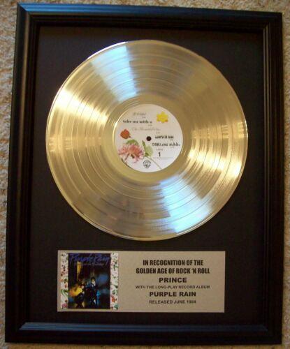 Prince PURPLE RAIN Platinum White Gold LP Record + Mini Album Disc in Frame
