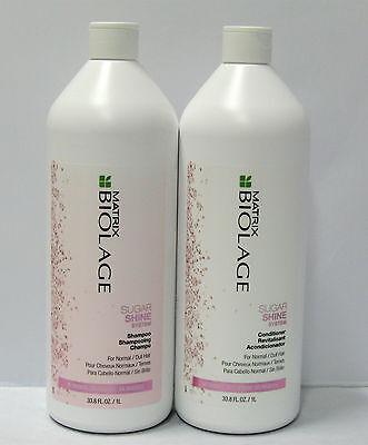 Biolage Sugar Shine Shampoo and Conditioner 33.8 oz Liter Set Duo Pack Matrix
