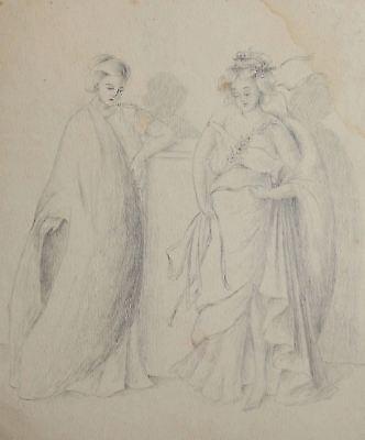 Antique pencil painting women with togas portrait signed