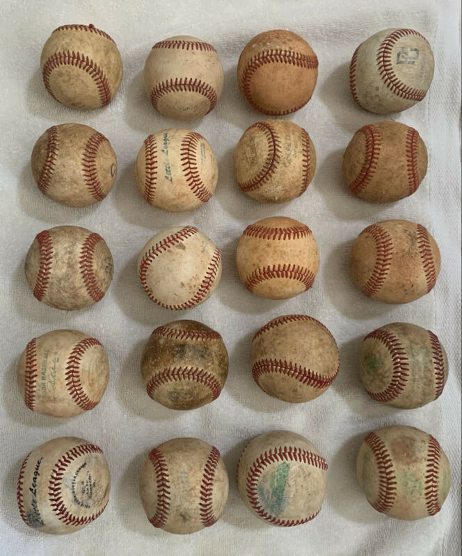 20 Used Baseballs Leather Covers Practice Balls Various Brands