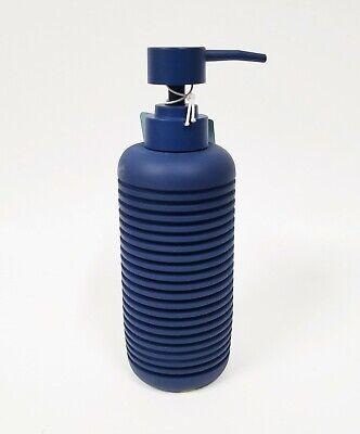 NEW KASSATEX NAVY DARK BLUE 3D RESIN 3D STRIPES SOAP,LOTION DISPENSER