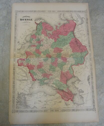 Original Old 1867 Antique MAP - RUSSIA - Johnson
