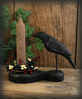 Primitive Crow & Grungy Candle Set W/ Your Choice Of Pip Berry Ring