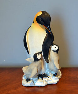 Penguin-Figurine-Statue-Hand-Painted-Beautiful-Penguin-Family-5-25-L-4-W-8-H