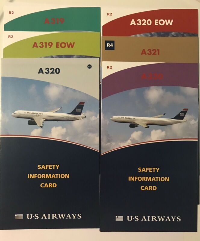 US Airways Safety Cards (Set of 6)