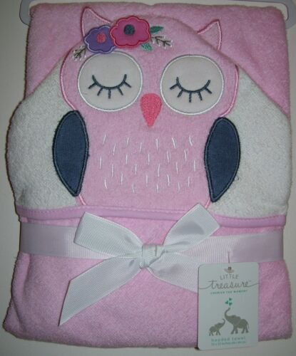 Girls Little Treasure Pink Owl 100% Cotton Hooded Towel NWT