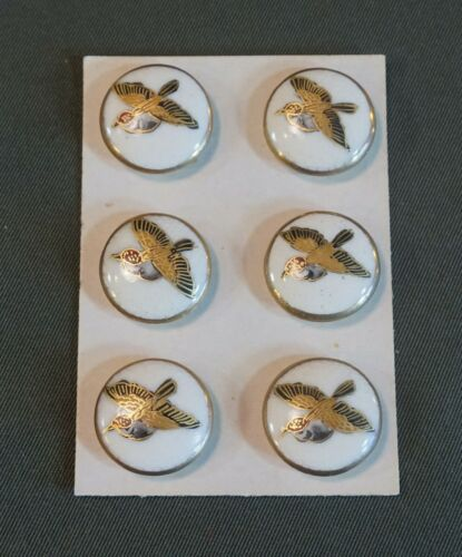 Set of 6 Vintage Japanese Porcelain Enamel Satsuma Buttons Bird
