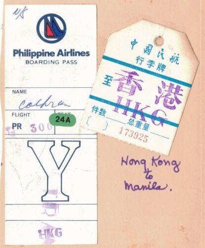 1983 Philippine Airlines Boarding Pass, Hong Kong Baggage Tag, HK-Manila Flight