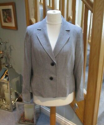 Kasper Grey Suit Jacket Petite Size 14 New Tags Single Breasted With Two Buttons