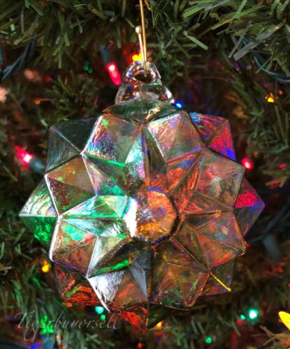 Rare GLASS GEOMETRIC SNOWFLAKE Ornament