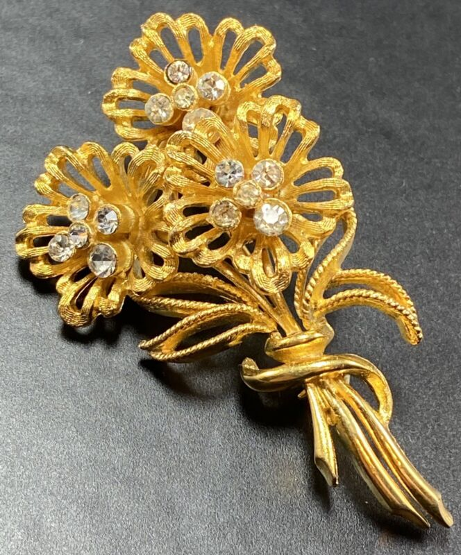"CORO Signed Vintage Brooch Pin 2.5"" Flowers Crystal Rhinestones Gold Tone"