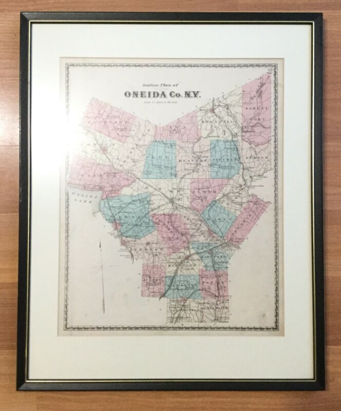 OLD VTG ANTIQUE 1874 FRAMED OUTLINE PLAN OF ONEIDA CO NY ATLAS MAP HAND COLORED