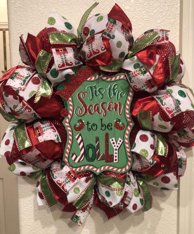 "WHIMSICAL ELF 🎄 Deco Mesh CHRISTMAS WREATH ""Tis The Season To Be Jolly"" CUTE"
