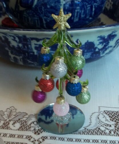 BLOWN GLASS- GREEN TINT CHRISTMAS TREE- MIRROR BASE -11 MINIATURE ORNAMENTS