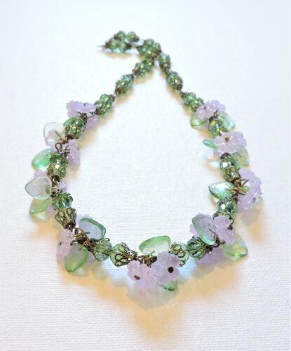 Vintage Lavender Flowers Lampwork Art Glass Bead Necklace MY21BN152