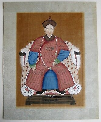 Fine Old Chinese Court Robed Scholar Portrait Ancestor Painting on Silk