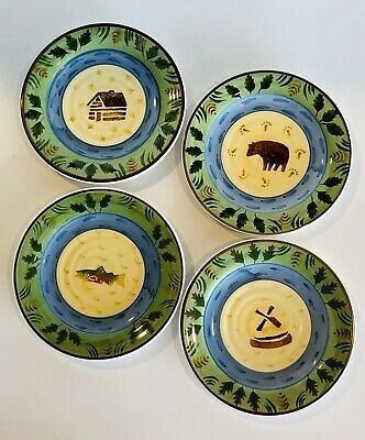 Bella Timberline Salad Plates Either Cabin, Bear, Fish or Canoe Motif 8 -