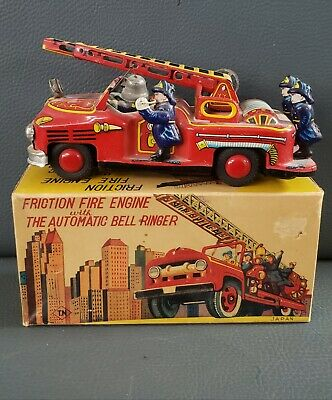 Vintagr Friction Fire Engine With Automatic Bell Ringer With Origanal Box