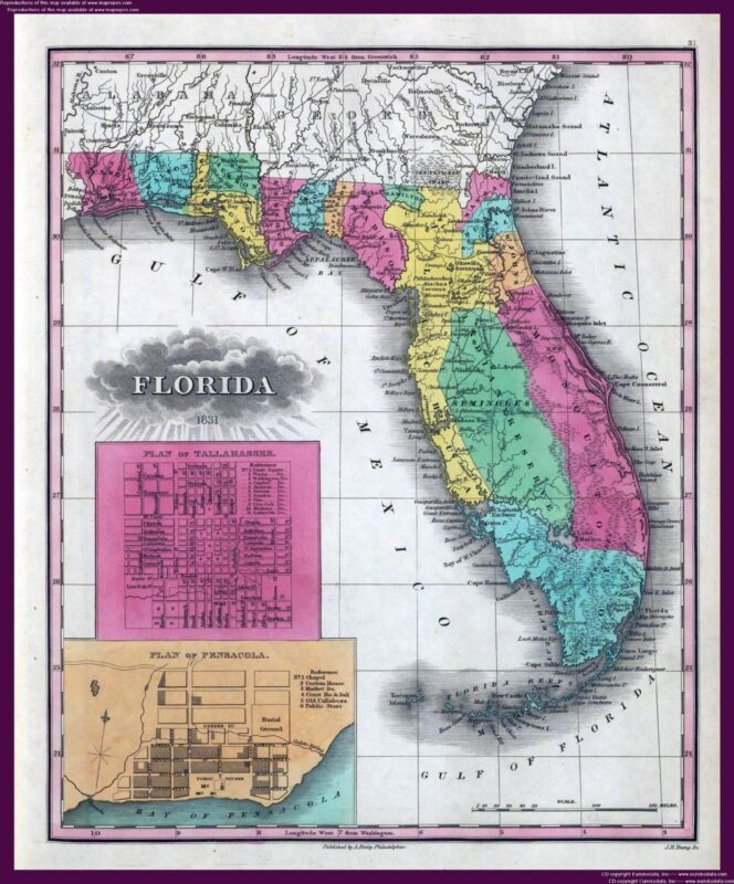 210 maps of FLORIDA state PANORAMIC genealogy old HISTORY atlas DVD