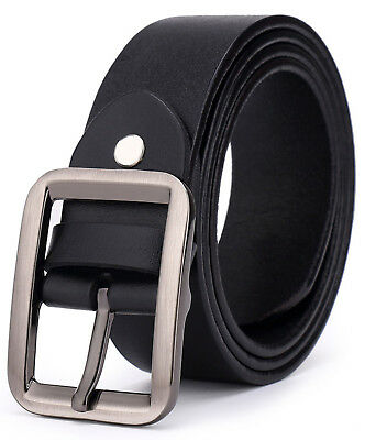 Metal Classic Belt - Men's Classic Metal Buckle Handcrafted Genuine Leather Casual Dress Jean Belt