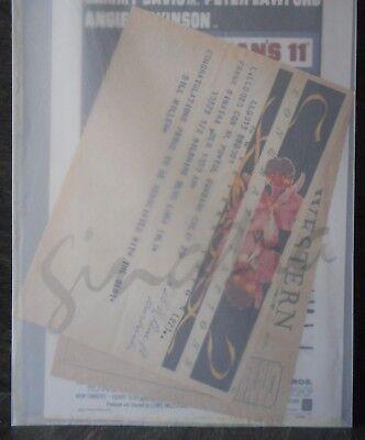 Frank Sinatra Telegrams + Ocean's 11 Movie Poster (small) - facsimile copies