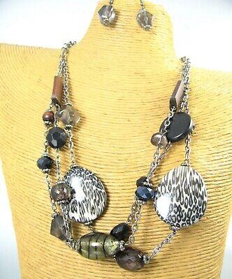 Animal Print Wood Glass Beaded Statement Fashion Necklace Earring Women Jewelry ()