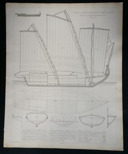 BLUEPRINT FRENCH NAUTICAL MUSEUM, Plan #30 Bresil 1872 SHIP, Geisendorfer 1890