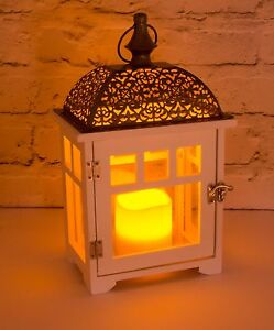 Chrome and Wood Flickering Candle Lantern - Battery Operated - Indoor / Outdoor