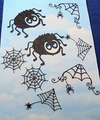 Die Cut  Halloween glitter pack x 8, web, spider, black topper card making