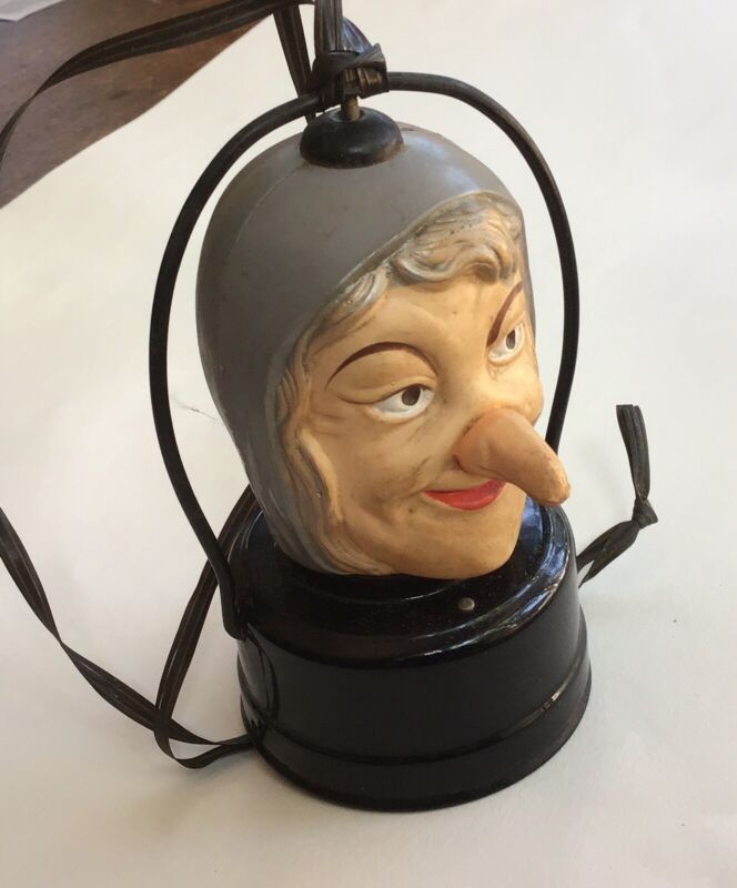 Vintage Celluloid Witch, battery operated blinking, Lantern Light Halloween Toy