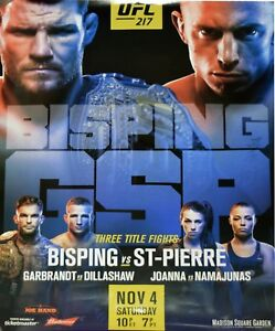 Bisping & GSP UFC 217 Official Fight Poster Saturday November 4th MSG 22x28