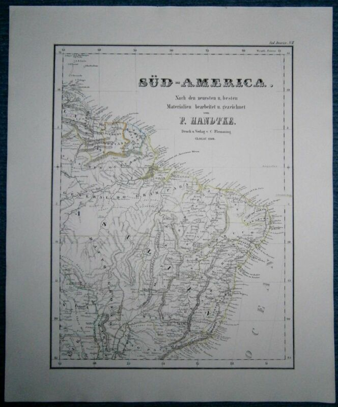 1849 Sohr Berghaus map SOUTH AMERICA, in 3 sheets