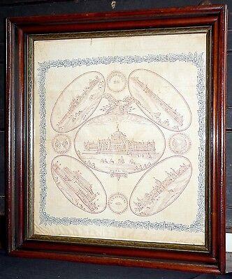 """1876 silk bandanna, handkerchief, 1876 Centennial Fair, Philadelhia, PA, 20"""""""