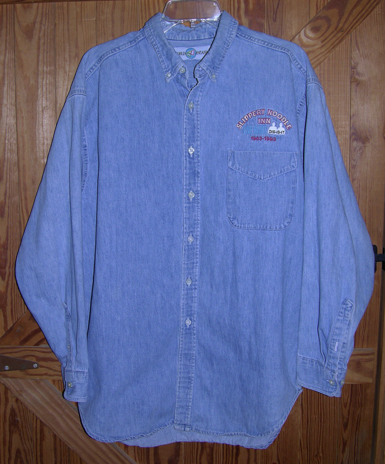 Vintage Slippery Noodle Inn Embroidered Front And Back Men s Denim Shirt - $65.00